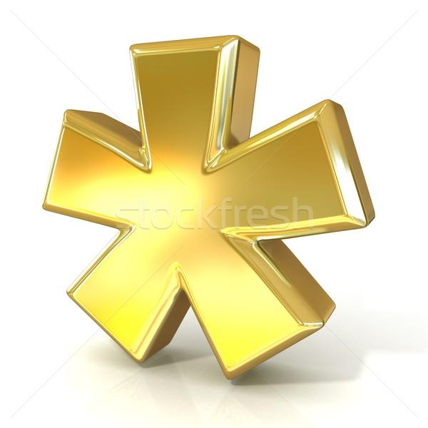 Asterisk mark, 3D golden sign Stock photo © djmilic