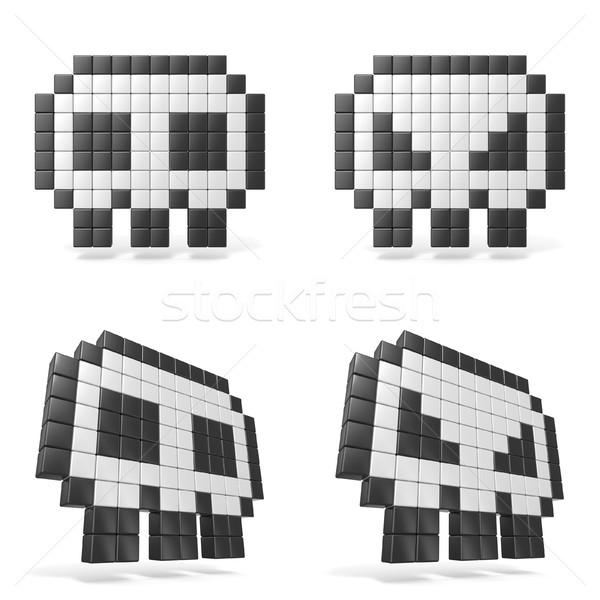 Pixeles koponya ikon elöl kilátás 3D Stock fotó © djmilic
