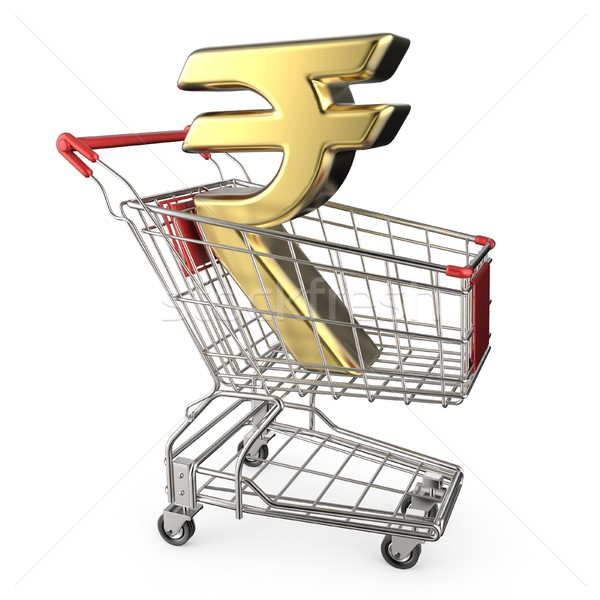 Red shopping cart with golden Indian rupee currency sign 3D Stock photo © djmilic