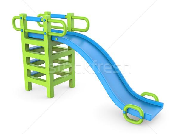 Blue green children slide 3D Stock photo © djmilic
