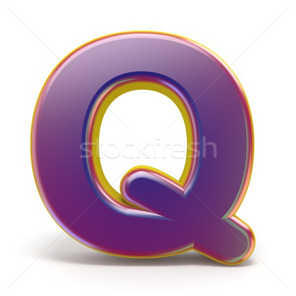 Letter Q purple font yellow outlined 3D Stock photo © djmilic