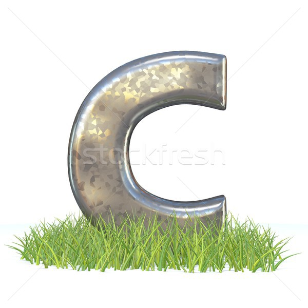 Galvanized metal font Letter C in grass 3D Stock photo © djmilic