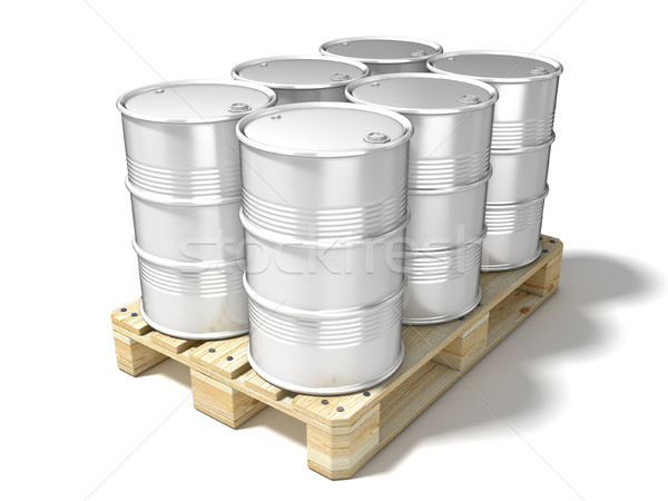 White oil barrels on wooden euro pallet. 3D Stock photo © djmilic
