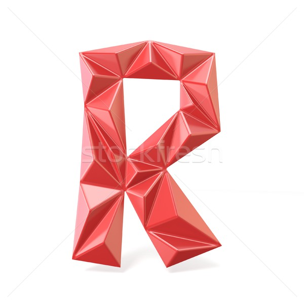 Red modern triangular font letter R. 3D Stock photo © djmilic