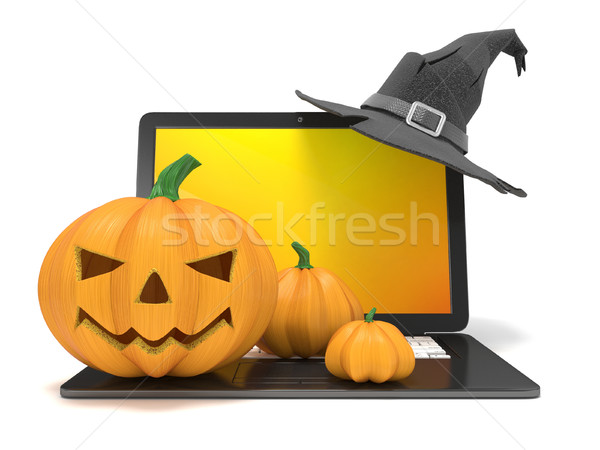 Laptop funny latarnia halloween kapelusz czarownicy 3D Zdjęcia stock © djmilic