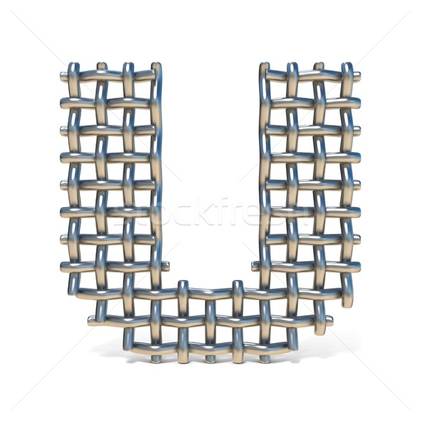 Metal wire mesh font LETTER U 3D Stock photo © djmilic