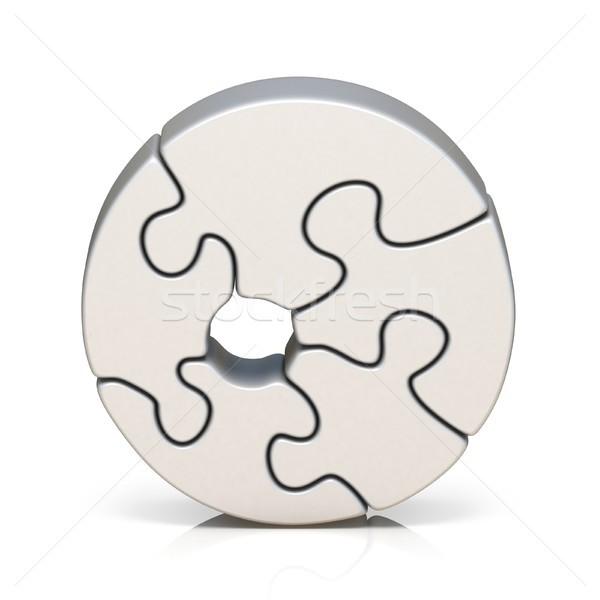 Fehér puzzle fűrész szám nulla 3D Stock fotó © djmilic