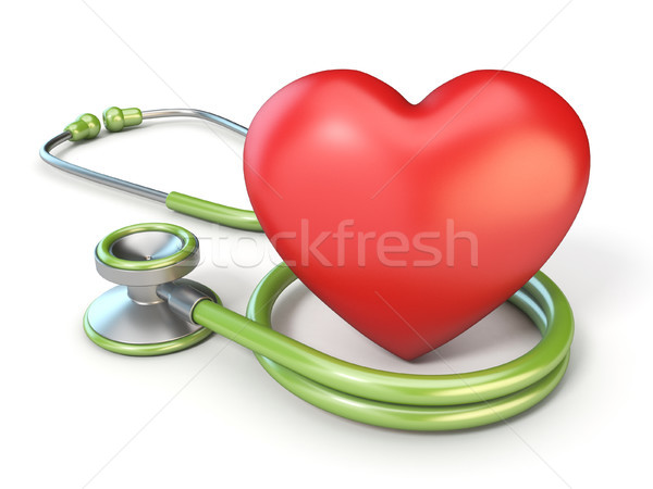 Stock photo: Medical stethoscope and red heart shape 3D