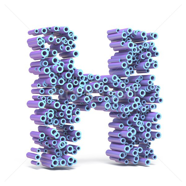 Purple blue font made of tubes LETTER H 3D Stock photo © djmilic