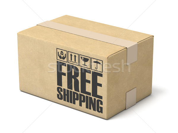 Free shipping cardboard box 3D rendering illustration on white b Stock photo © djmilic