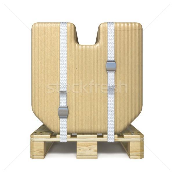 Cardboard box font Letter V on wooden pallet 3D Stock photo © djmilic