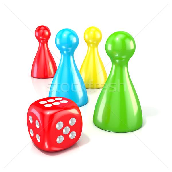Társasjáték piros kocka 3D 3d render illusztráció Stock fotó © djmilic