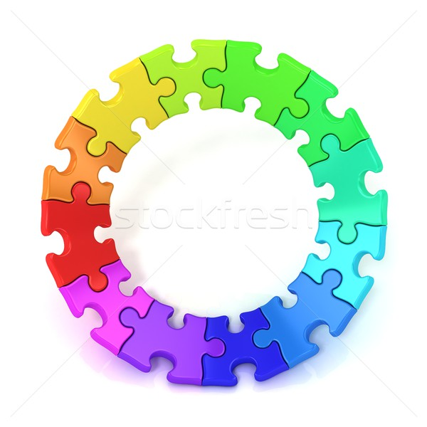 3D colorful puzzle chart wheel Stock photo © djmilic