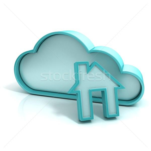 Felhő otthon 3D számítógép ikon izolált fehér Stock fotó © djmilic