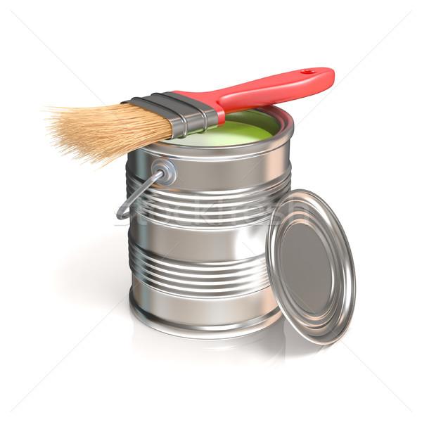 Metal estanho lata verde pintar pincel Foto stock © djmilic