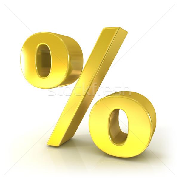 Percent 3D golden sign Stock photo © djmilic