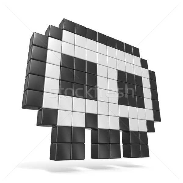 Pixelated 8bit skull icon. Side view. 3D Stock photo © djmilic