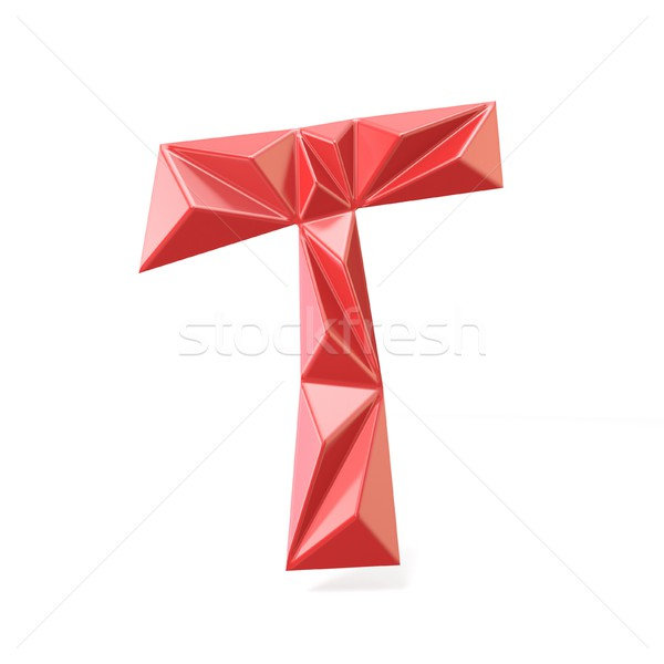 Red modern triangular font letter T. 3D Stock photo © djmilic