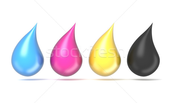 CMYK ink droplets sign. 3D Stock photo © djmilic