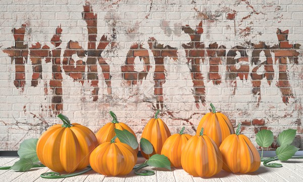 Trick or treat. Halloween greeting with pumpkins and green leafs Stock photo © djmilic