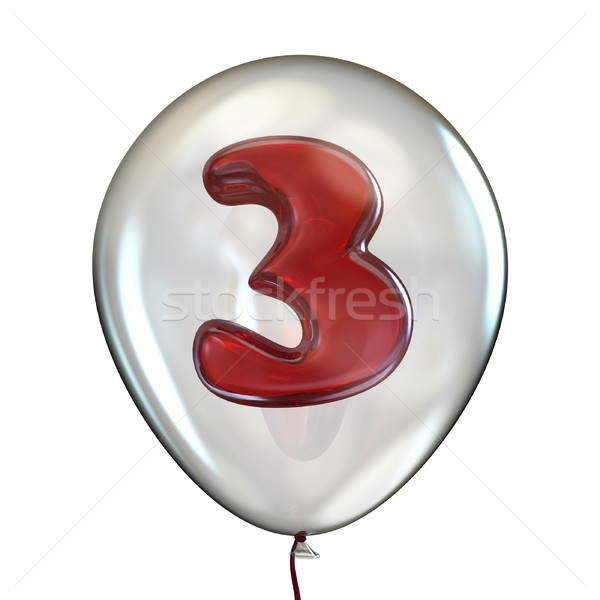 Number THREE 3 in transparent balloon 3D Stock photo © djmilic