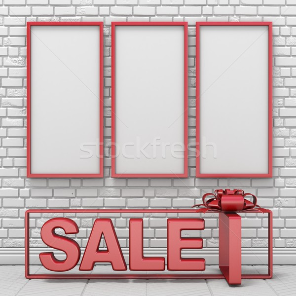 Three mock up blank picture frames and text SALE into gift box 3 Stock photo © djmilic
