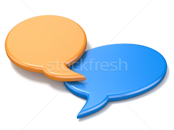 Orange and blue ellipse blank speech bubbles 3D Stock photo © djmilic