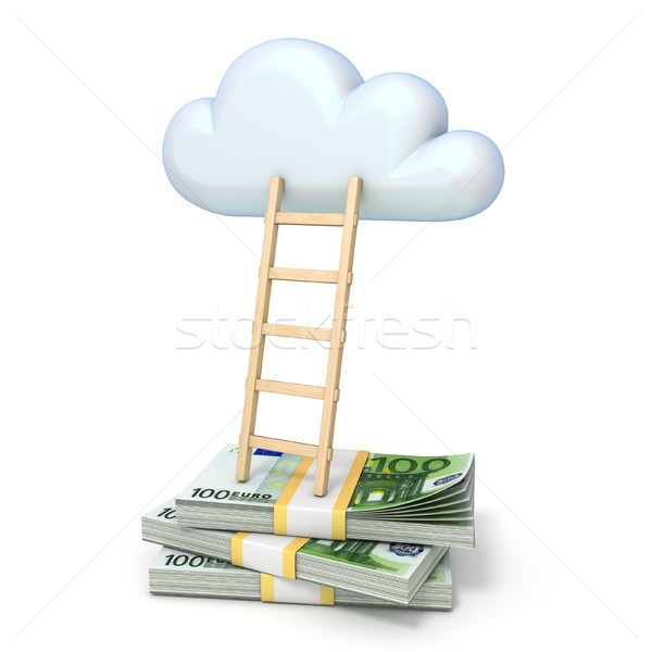 Cloud shape and ladder over euro banknotes 3D Stock photo © djmilic