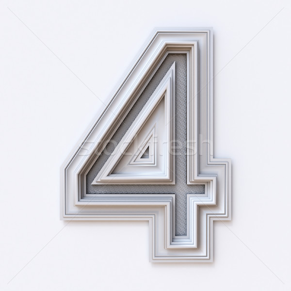 White picture frame font Number 4 FOUR 3D Stock photo © djmilic