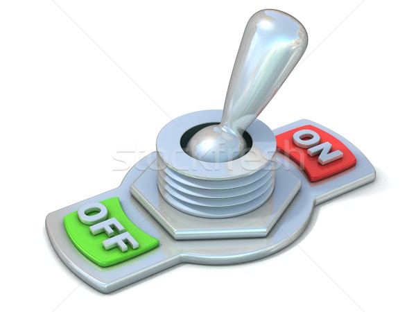 On and off metal toggle switch, flipped in the ON position. 3D Stock photo © djmilic