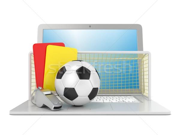 Voetbal boete Rood Geel kaart metaal Stockfoto © djmilic