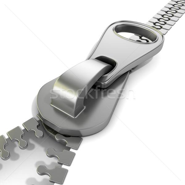 Zipper macro view. 3D Stock photo © djmilic