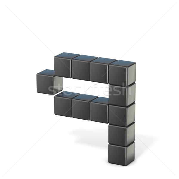 8 bit font. Lowercase letter Q. 3D Stock photo © djmilic