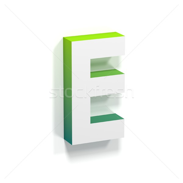 Green gradient and soft shadow letter E Stock photo © djmilic