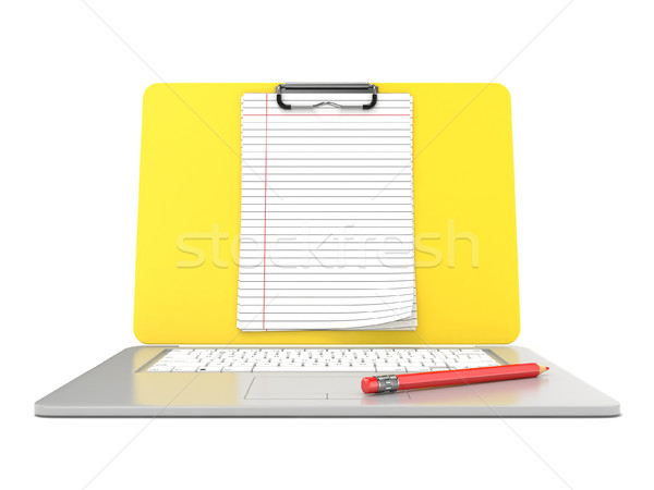 Blank clipboard lined paper on laptop. Front view. 3D Stock photo © djmilic