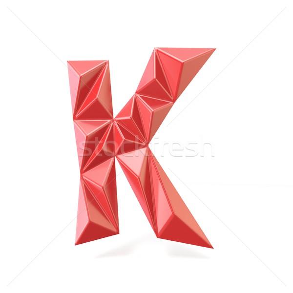 Red modern triangular font letter K. 3D Stock photo © djmilic