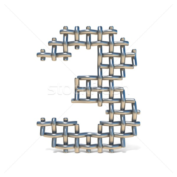 Metal wire mesh font Number 3 THREE 3D Stock photo © djmilic