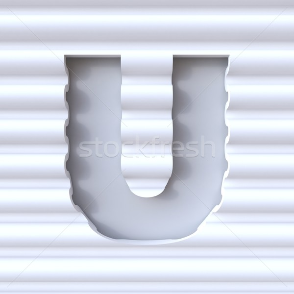 Cut out font in wave surface LETTER U 3D Stock photo © djmilic