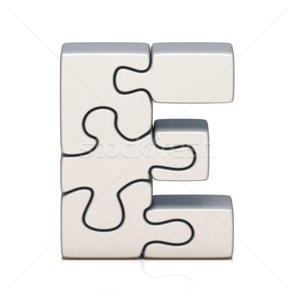White puzzle jigsaw letter E 3D Stock photo © djmilic