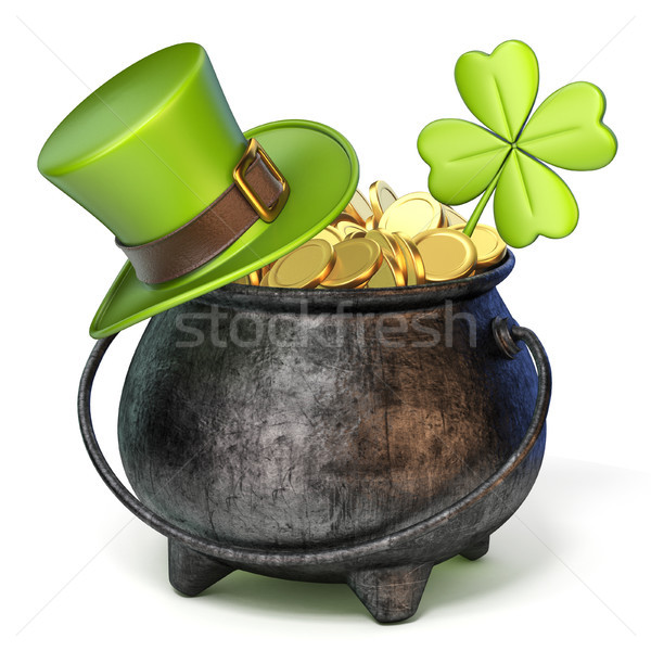 Iron pot full of golden coins, Green St. Patrick's Day hat and c Stock photo © djmilic