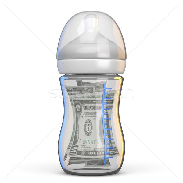 Baby bottle full of dollar bills 3D Stock photo © djmilic