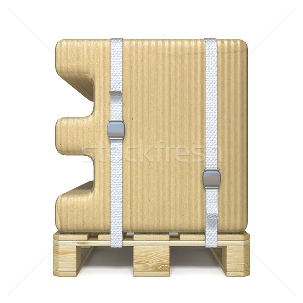 Cardboard box font Number 3 THREE on wooden pallet 3D Stock photo © djmilic