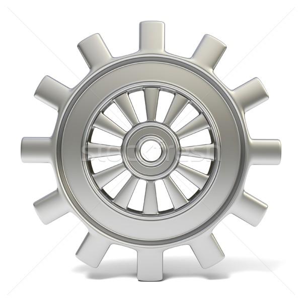 Silver cogwheel. 3D Stock photo © djmilic