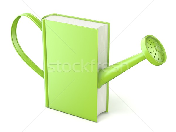 Green watering can book. Concept of education and knowledge. 3D Stock photo © djmilic