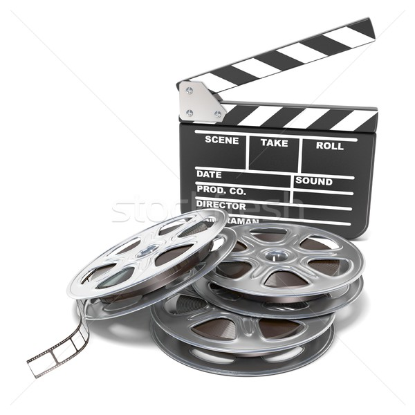 Film reels and movie clapper board. Video icon. 3D Stock photo © djmilic
