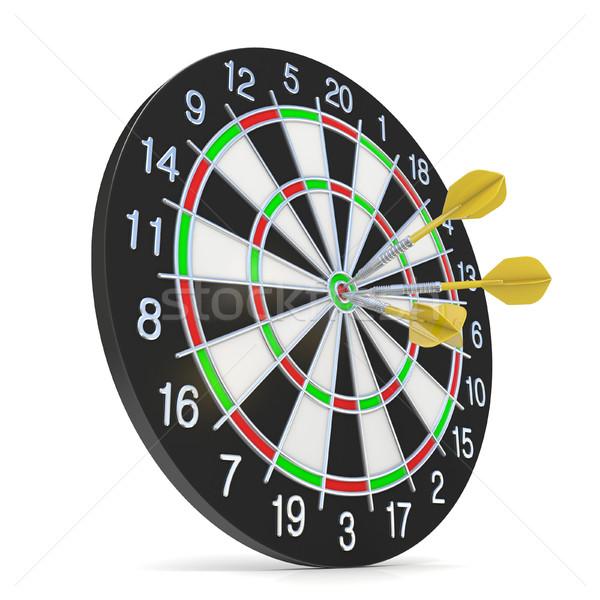 Dartboard with three orange darts on bullseye. Side view. 3D Stock photo © djmilic