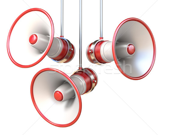 Three red and white megaphones 3D Stock photo © djmilic