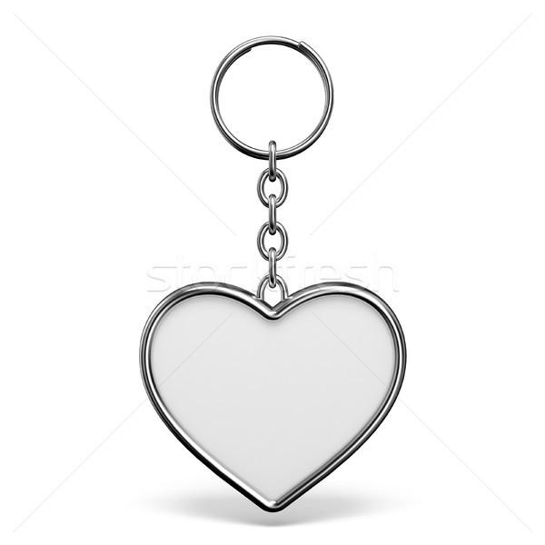 Metal cacko pierścień kluczowych kształt serca 3D Zdjęcia stock © djmilic