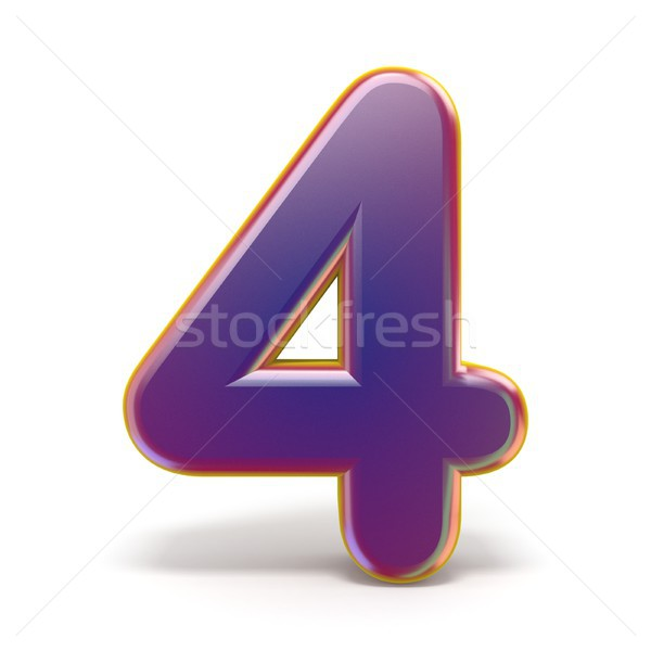 Number FOUR 4 purple font yellow outlined 3D Stock photo © djmilic