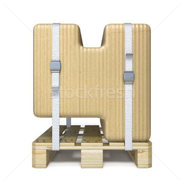Cardboard box font Number 4 FOUR on wooden pallet 3D Stock photo © djmilic